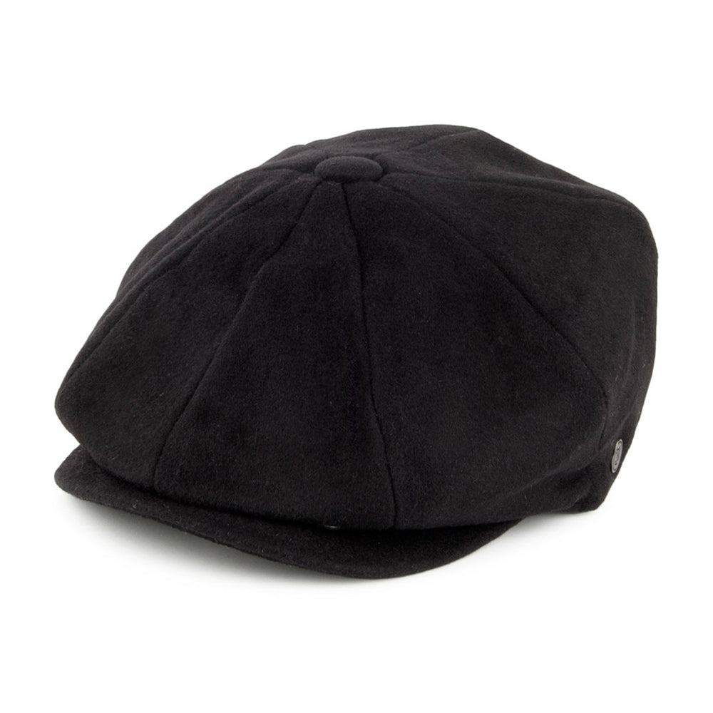 Jaxon & James Pure Wool Harlem Newsboy Sixpence Flat Cap Black Sort