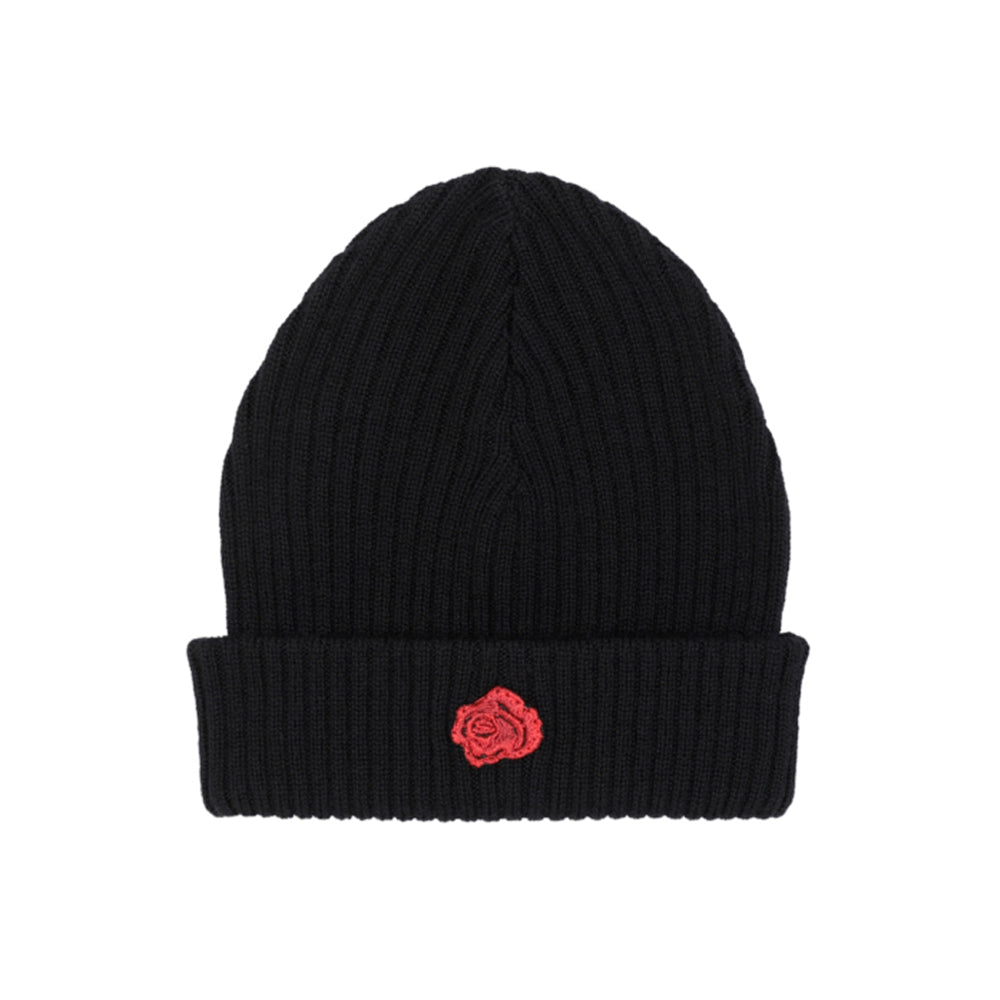 La Rosa LoveToDie4 Rose Beanie Red Rose Badge Sort Fold Huer