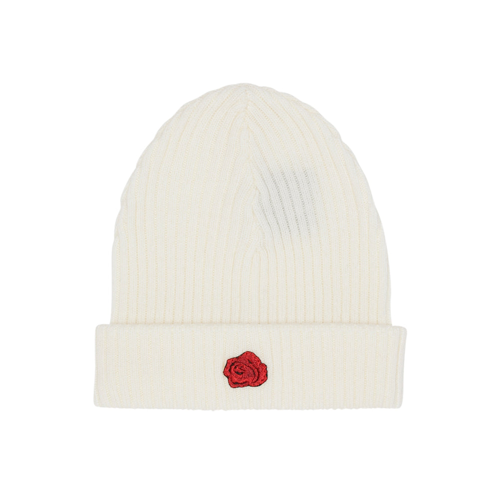 La Rosa LoveToDie4 Red Rose Badge Beanie Fold Hue White Hvid Rød