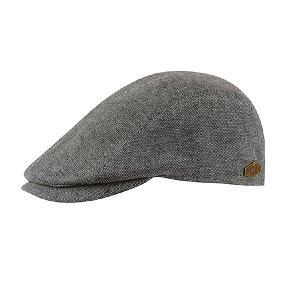 MJM Hats Daffy 3 Sixpence Flat Cap Grey Grå