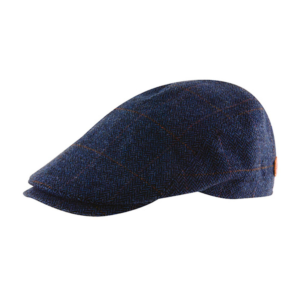 MJM Hats Rebel Nappa Wax Sixpence Flat Cap Blue Blå 01D74580B96