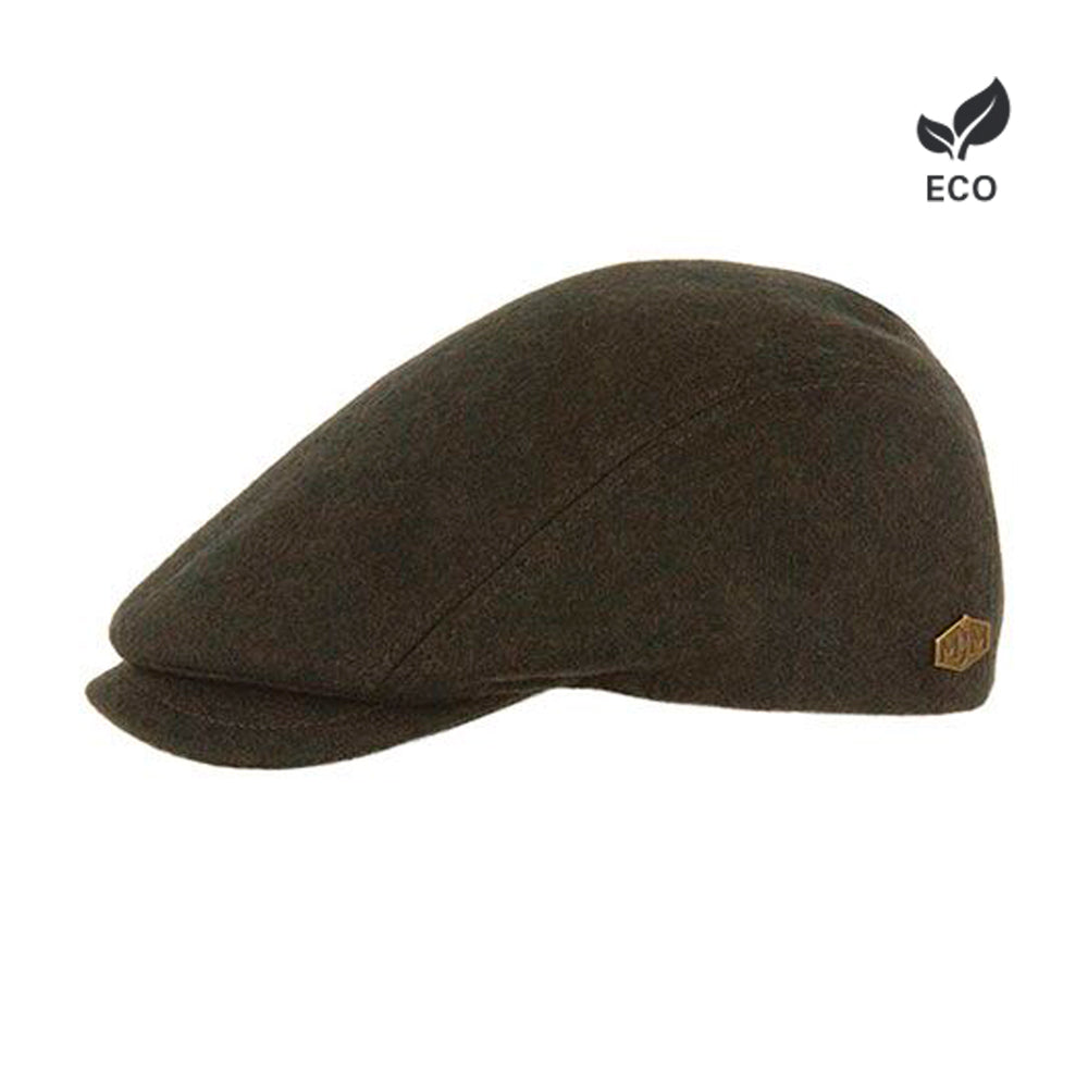MJM Hats Daffy 3 Sixpence Flat Cap Loden Olive Brown Green Brun Grøn Eco Logo