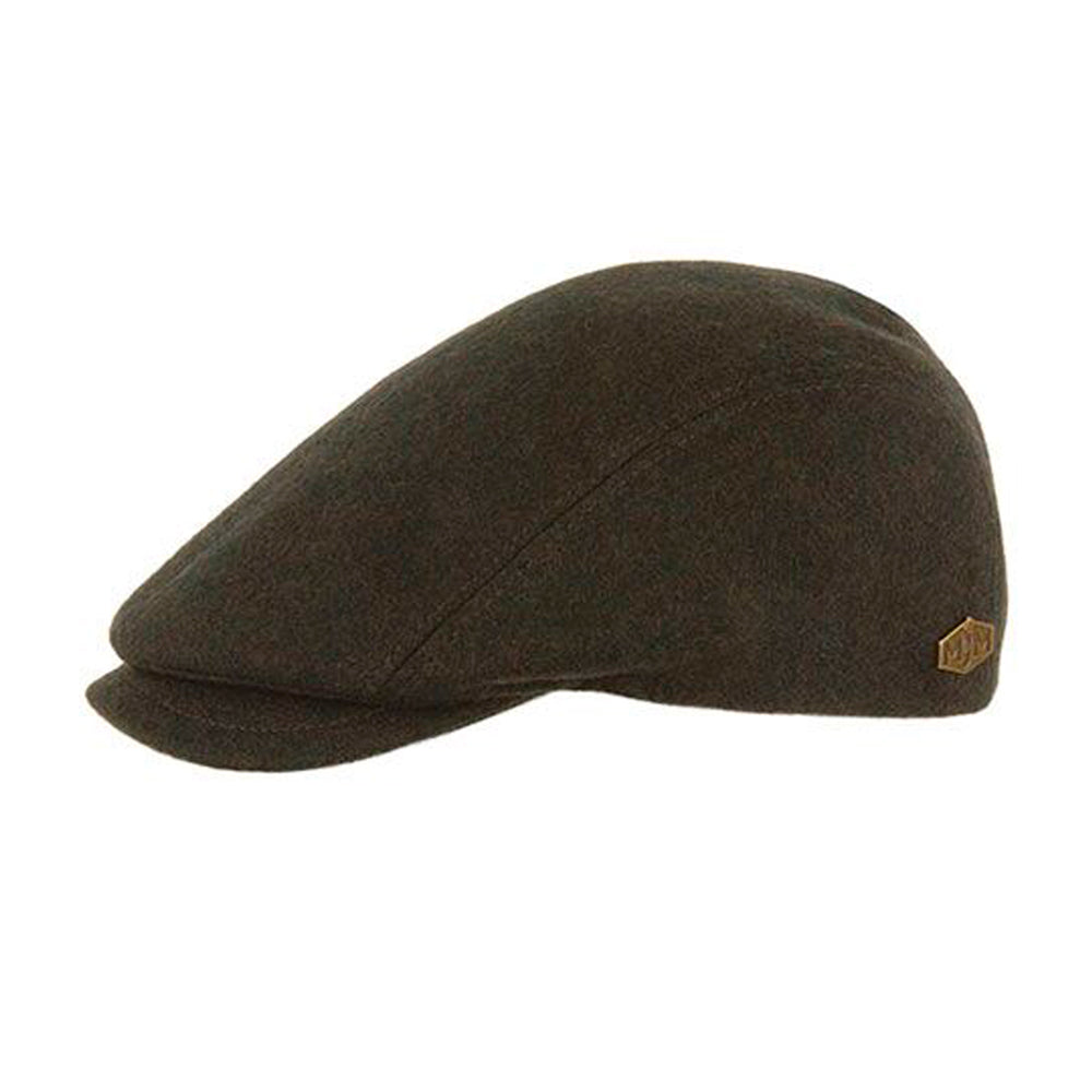 MJM Hats Daffy 3 Sixpence Flat Cap Loden Olive Brown Green Brun Grøn