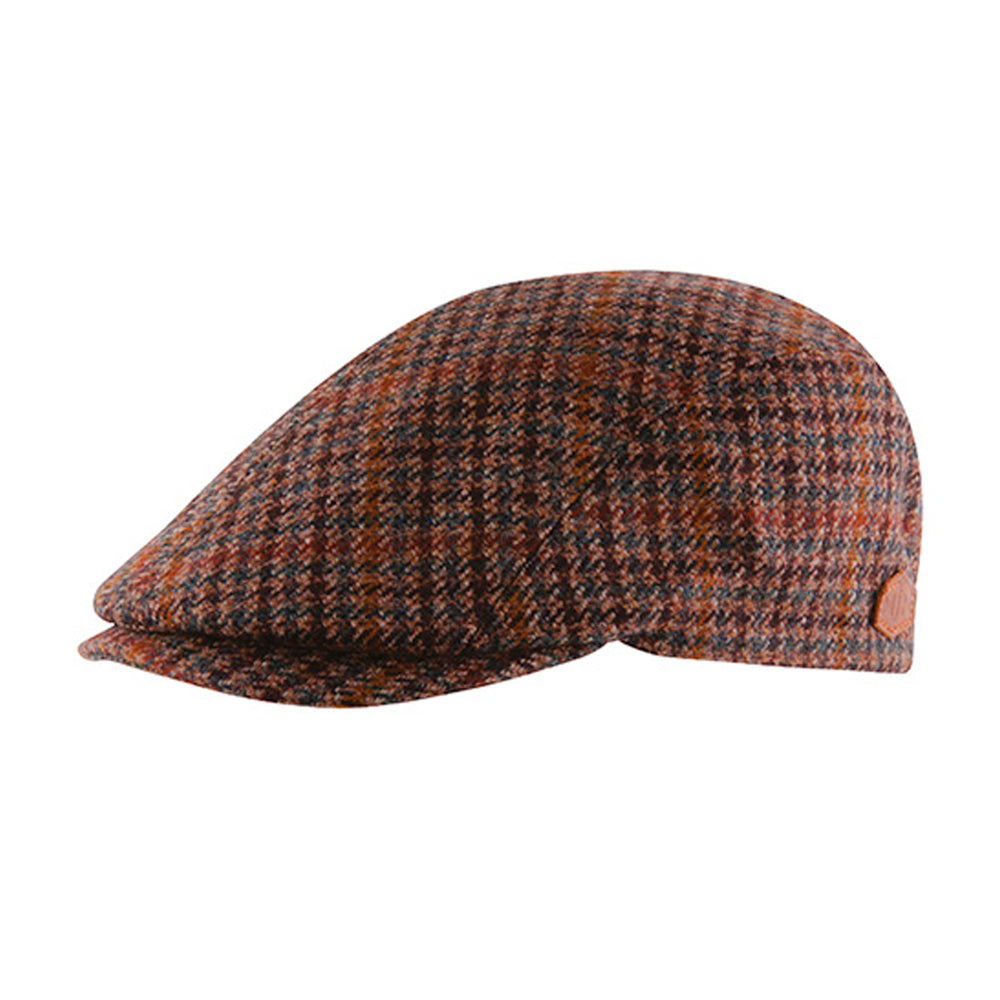 MJM Hats Daffy 3 Virgin Sixpence Flat Cap Brown Check Wool Cashmere Brun 01C60583B99