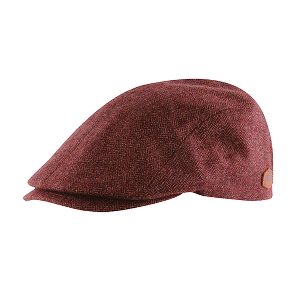MJM Hats Daffy 3 Virgin Sixpence Flat Cap Rust Red Maroon Rød 01C60412818