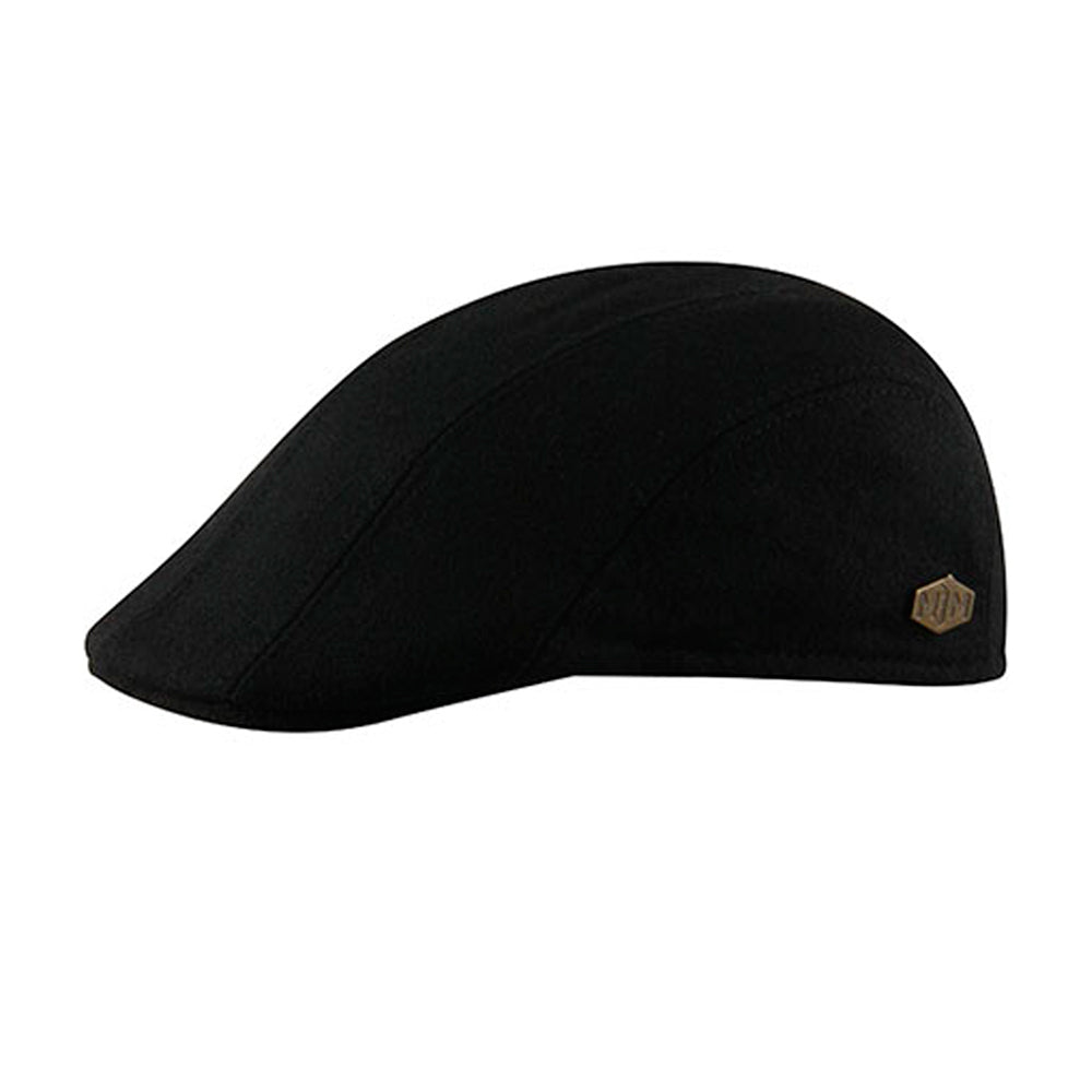 MJM Hats Maddy EL Sixpence Flat Cap Black Sort