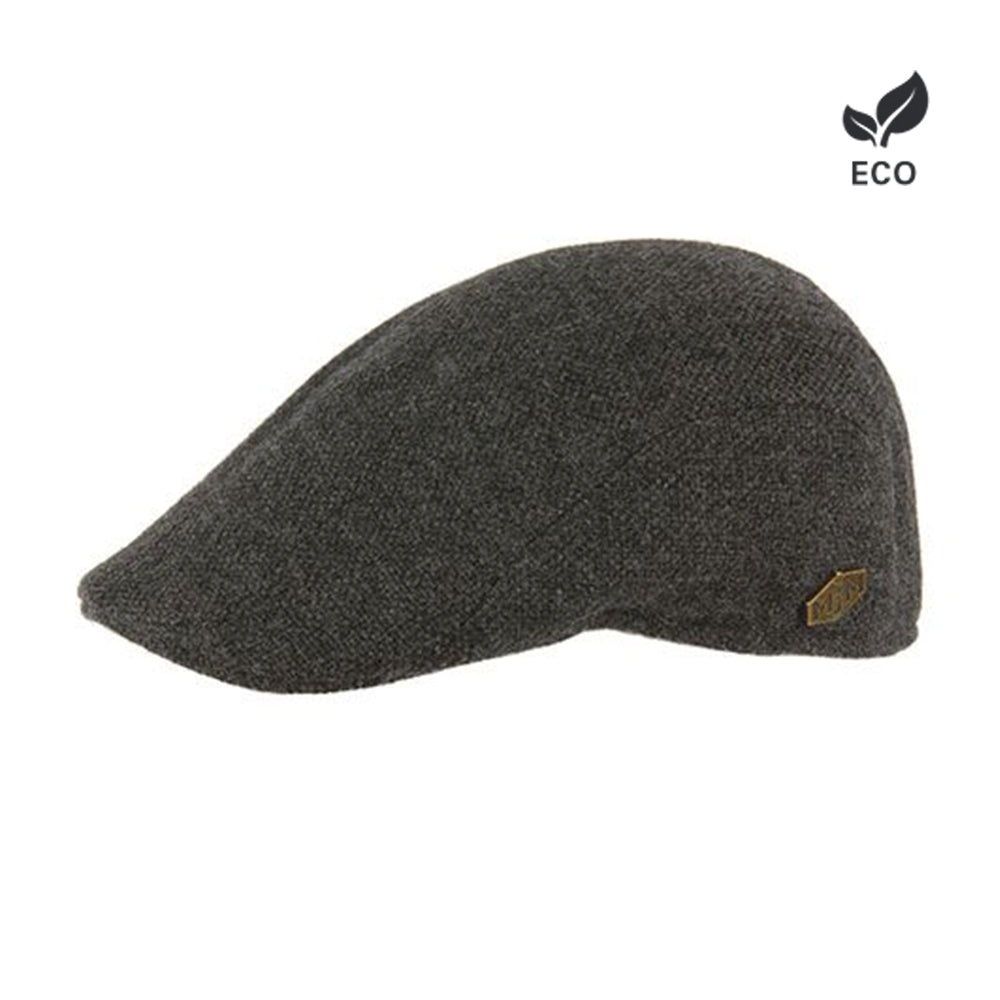 MJM Hats Maddy Sixpence Flat Cap Anthracite Dark Grey Brown Mørkegrå Grå Brun Eco Logo