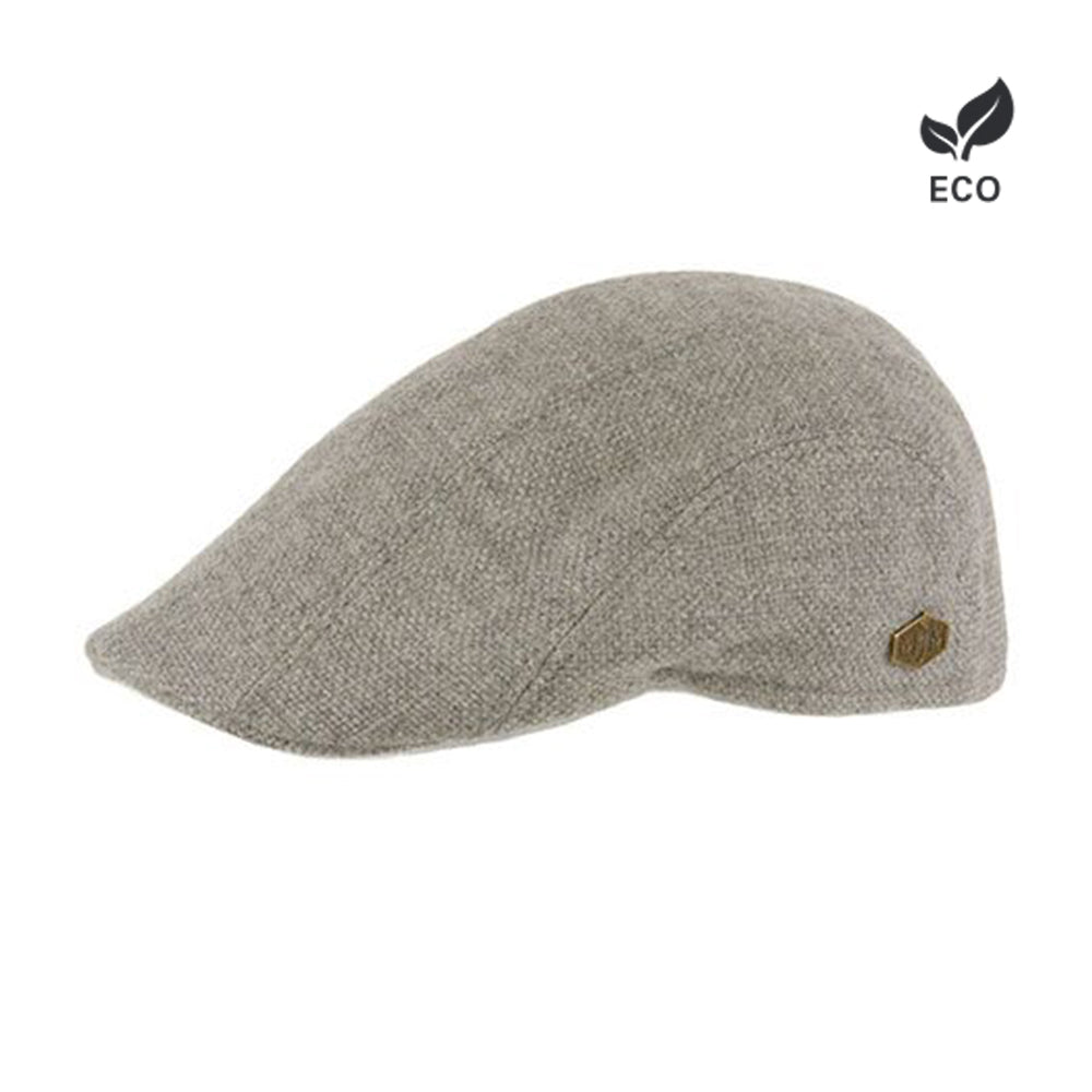MJM Hats Maddy Sixpence Flat Cap Light Grey Lysegrå Grå Eco Økologisk Logo