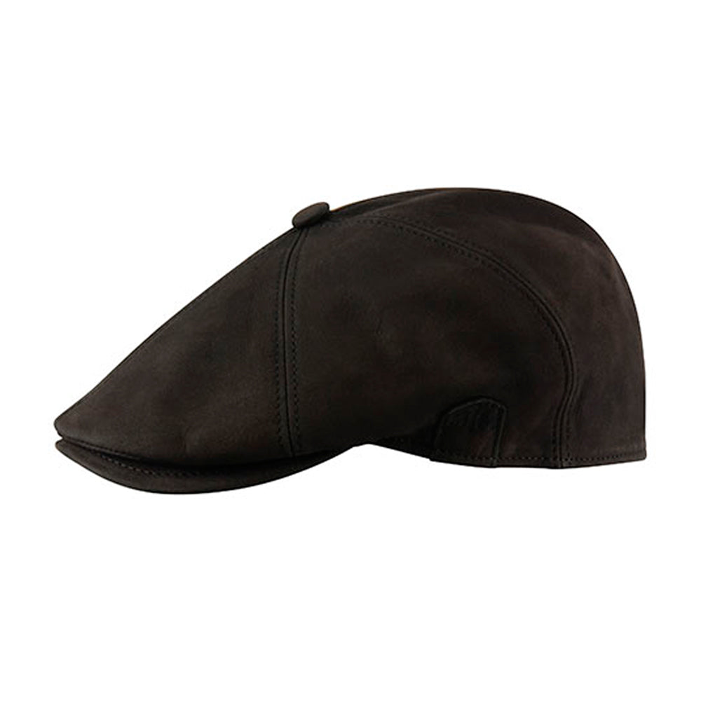 MJM Hats Rebel Nappa Wax Sixpence Flat Cap Black Sort 01696043100