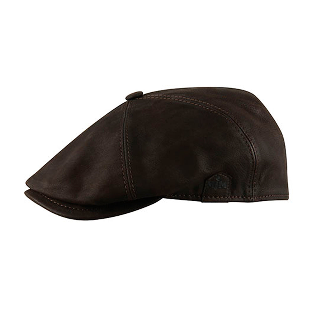 MJM Hats Rebel Nappa Wax Sixpence Flat Cap Brown Brun 01696043750