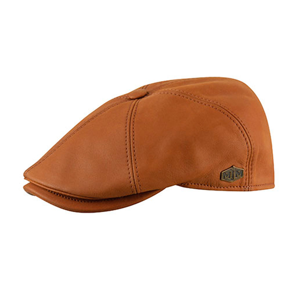 MJM Hats Rebel Nappa Wax Sixpence Flat Cap Cognac Brown Brun 01696043018