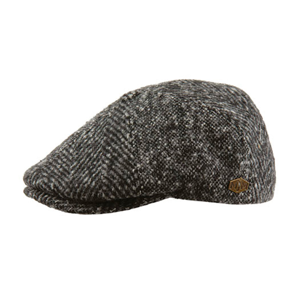 MJM Hats Daffy 3 Virgin Sixpence Flat Cap Patch Grey Grå 01696012823