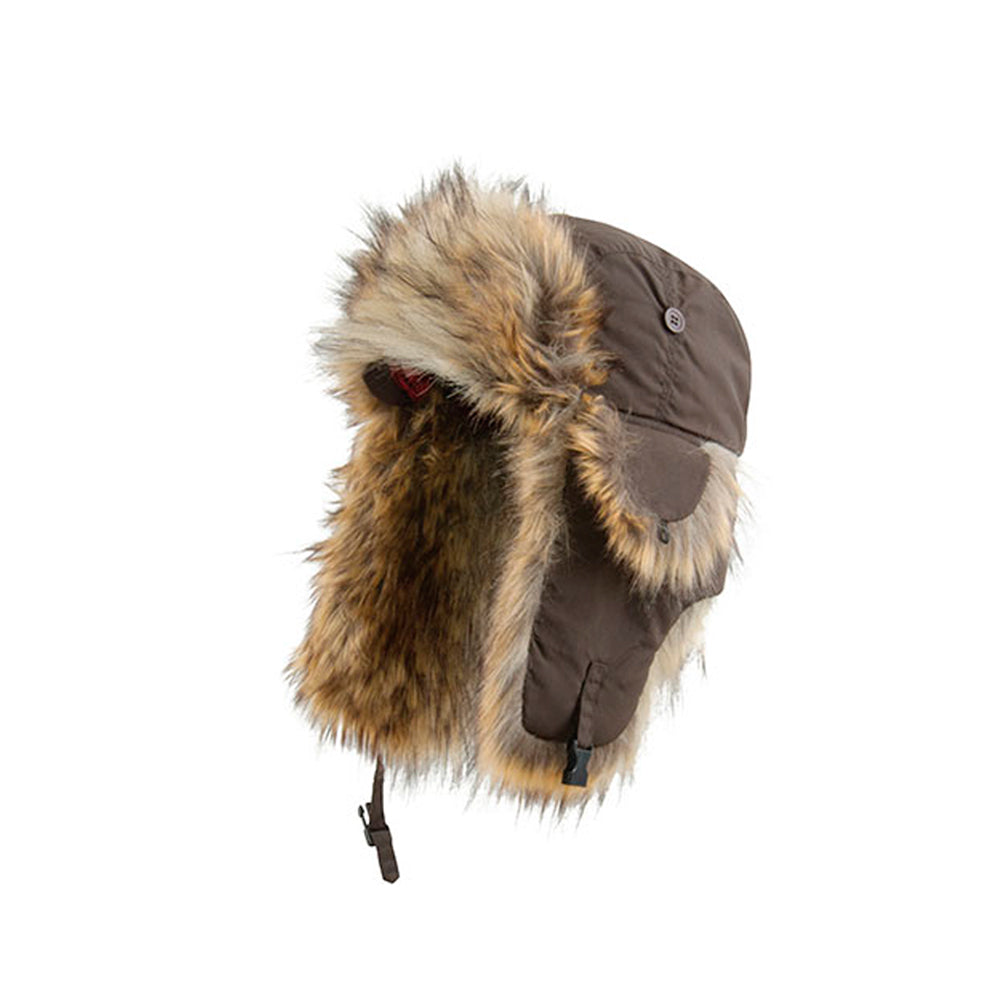 MJM Hats TH1108 W Trapper Pilot Hue Brown Natural Raccoon Brun