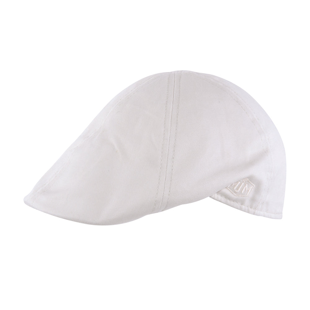MJM Hats Rebel Sixpence Flat Cap Off White Hvid