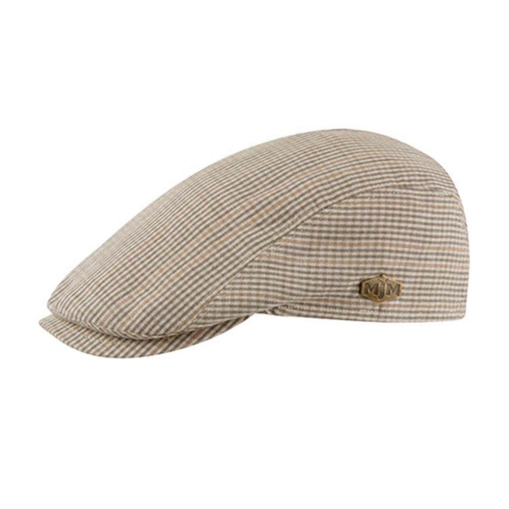 MJM Hats Young Sixpence Flat Cap Brown Check Brun