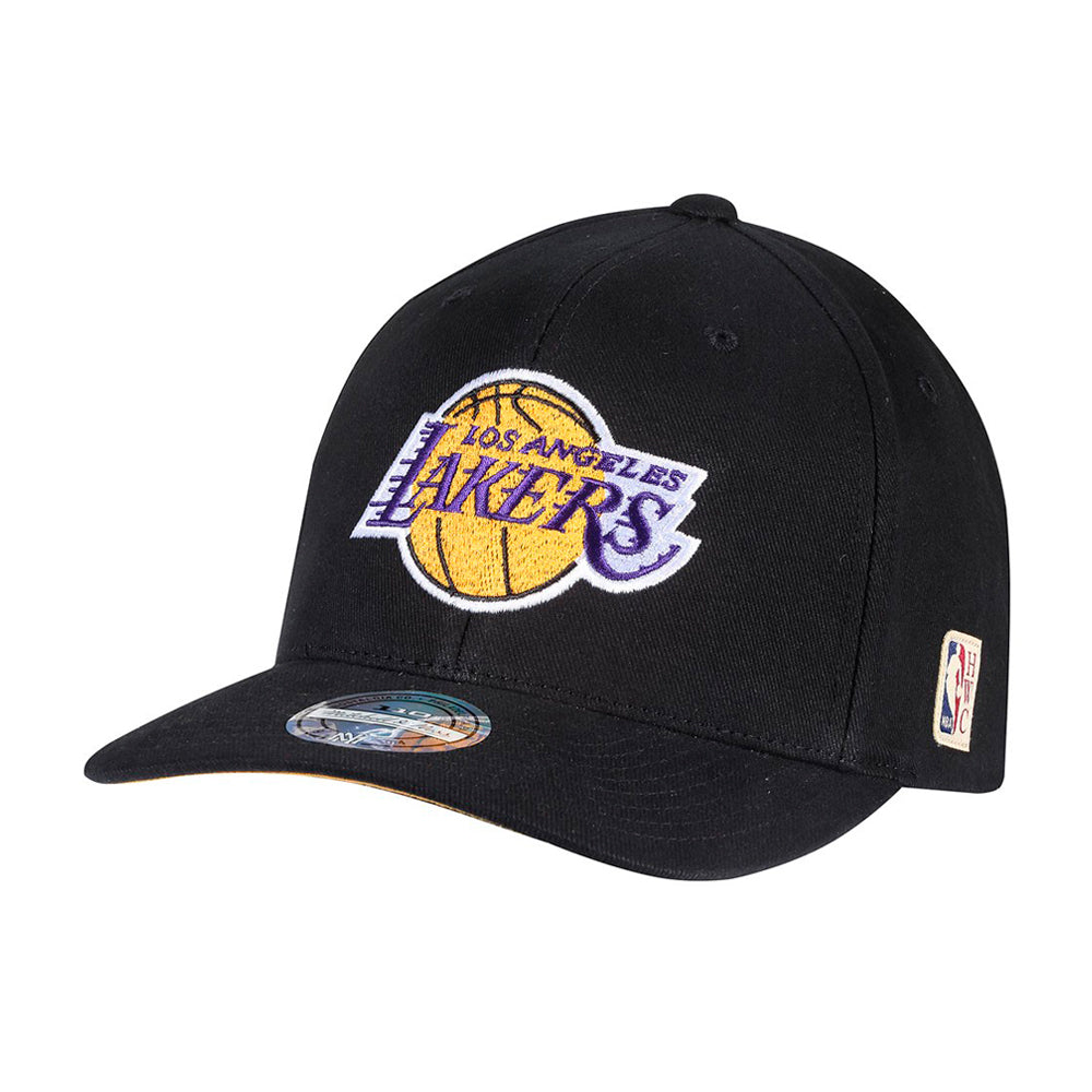 Mitchell & Ness LA Lakers Team Logo Low Pro Snapback Black Sort Yellow Gul Purple Lilla