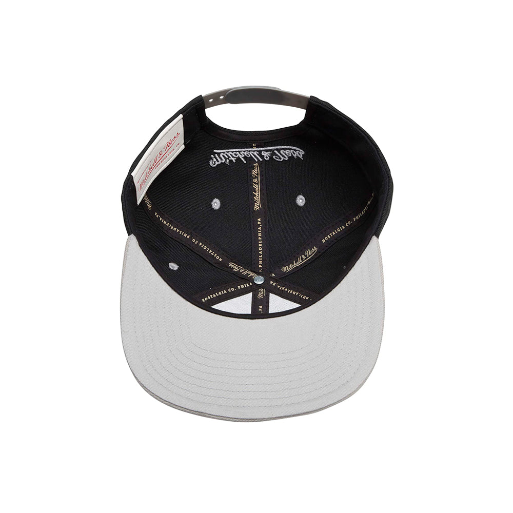Mitchell & Ness 2 Tone Label Snapback Black Silver Sort Sølv