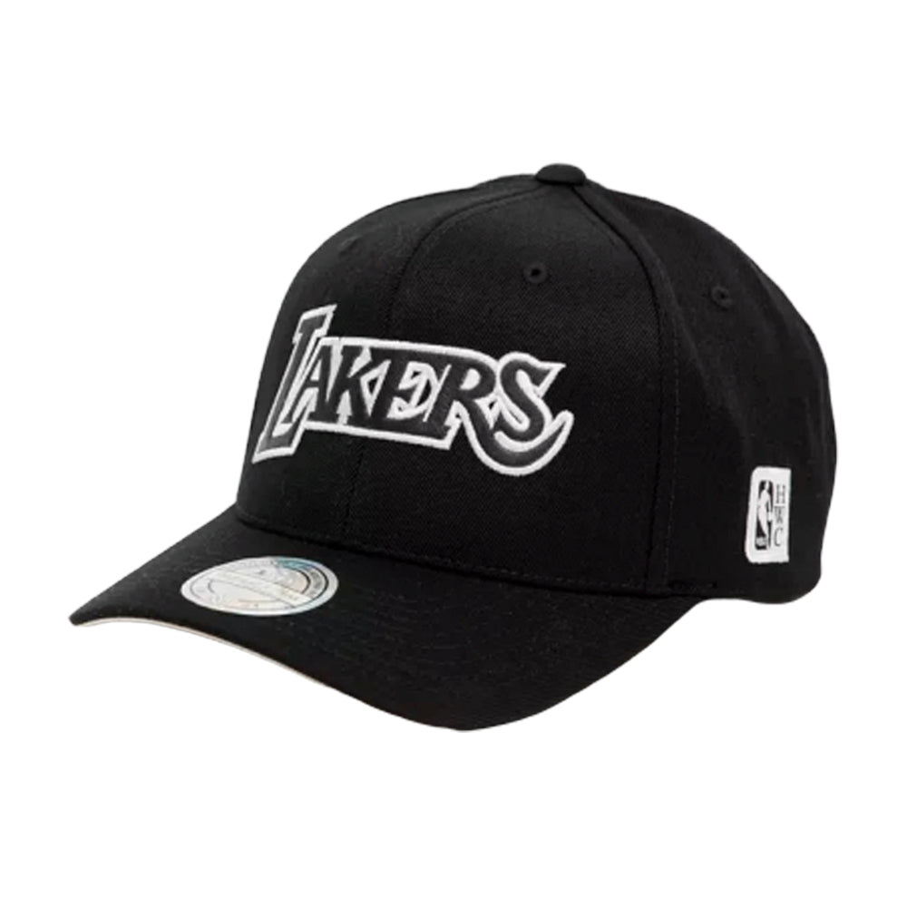 Mitchell & Ness LA Los Angeles Lakers 110 Outline Snapback Black White Sort Hvid