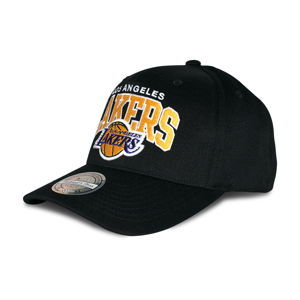 Mitchell & Ness LA Lakers Team Arch Pinch Panel 110 Snapback Black Sort