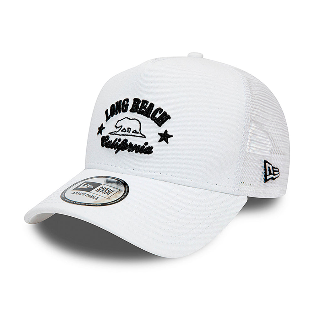 New Era Long Beach California Destination Trucker Snapback White Hvid
