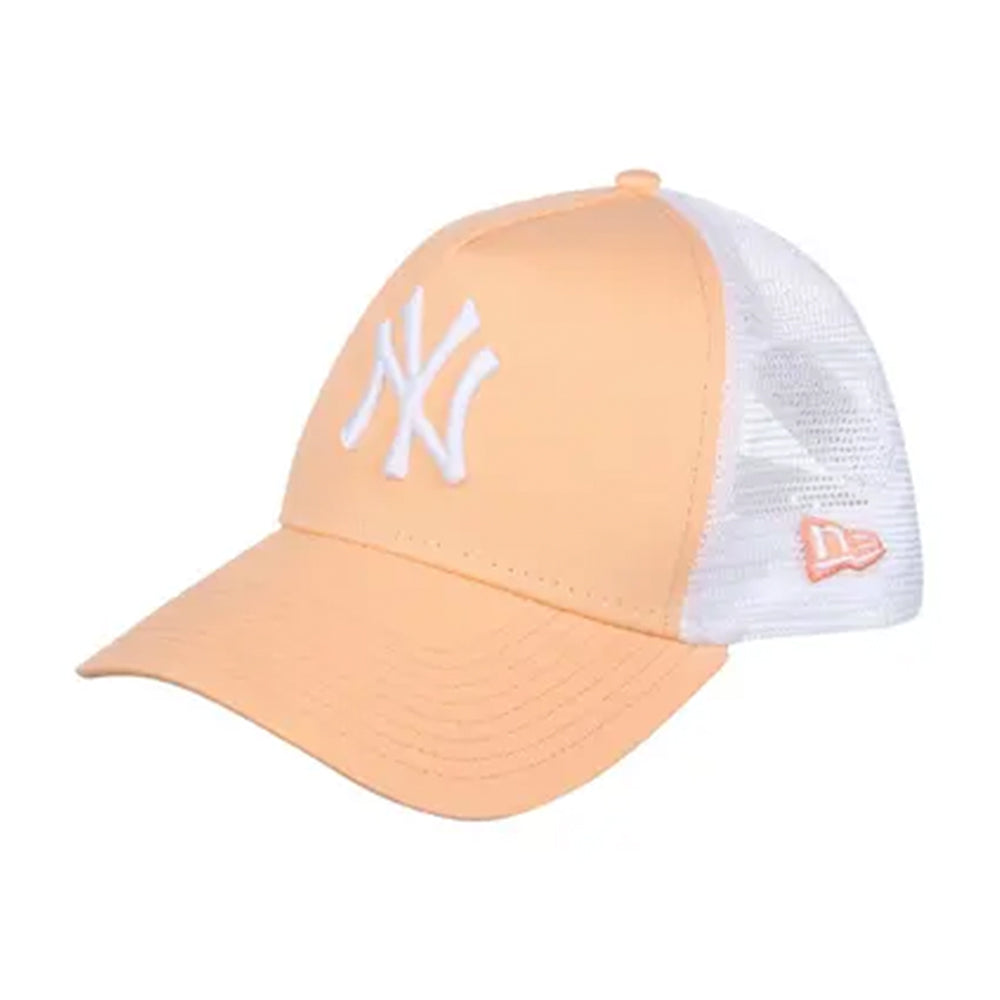 New Era New York Yankees League Essential Kids Trucker Snapback Peach White Fersken Hvid