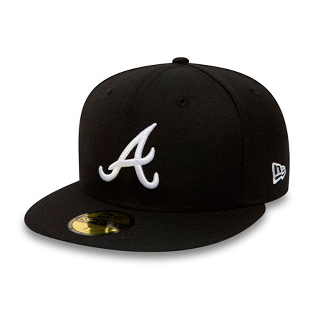 New Era Atlanta Braves 59Fifty Fitted Black White Sort Hvid