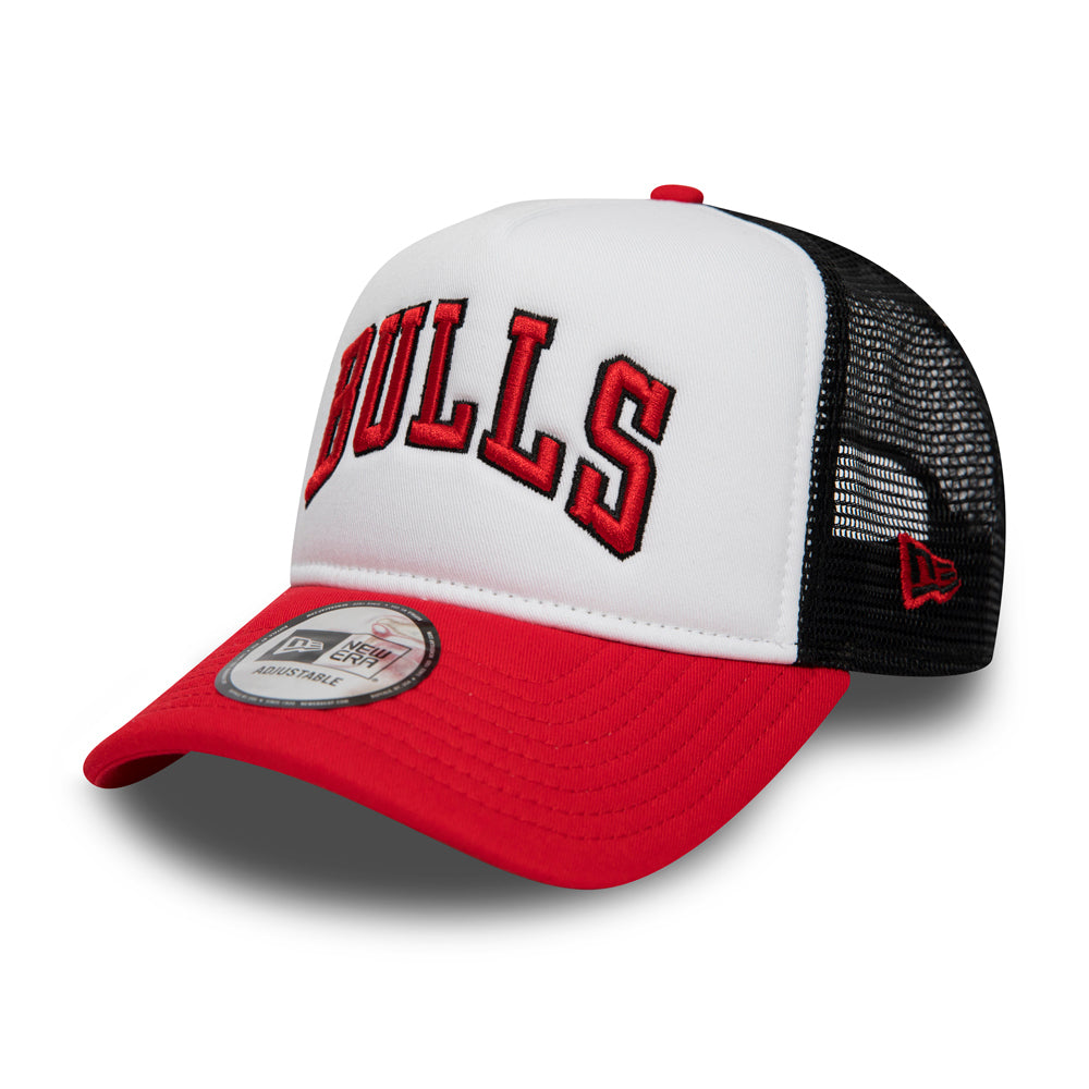 New Era Chicago Bulls Colour Block A Frame Trucker Snapback White Red Black Hvid Rød Sort