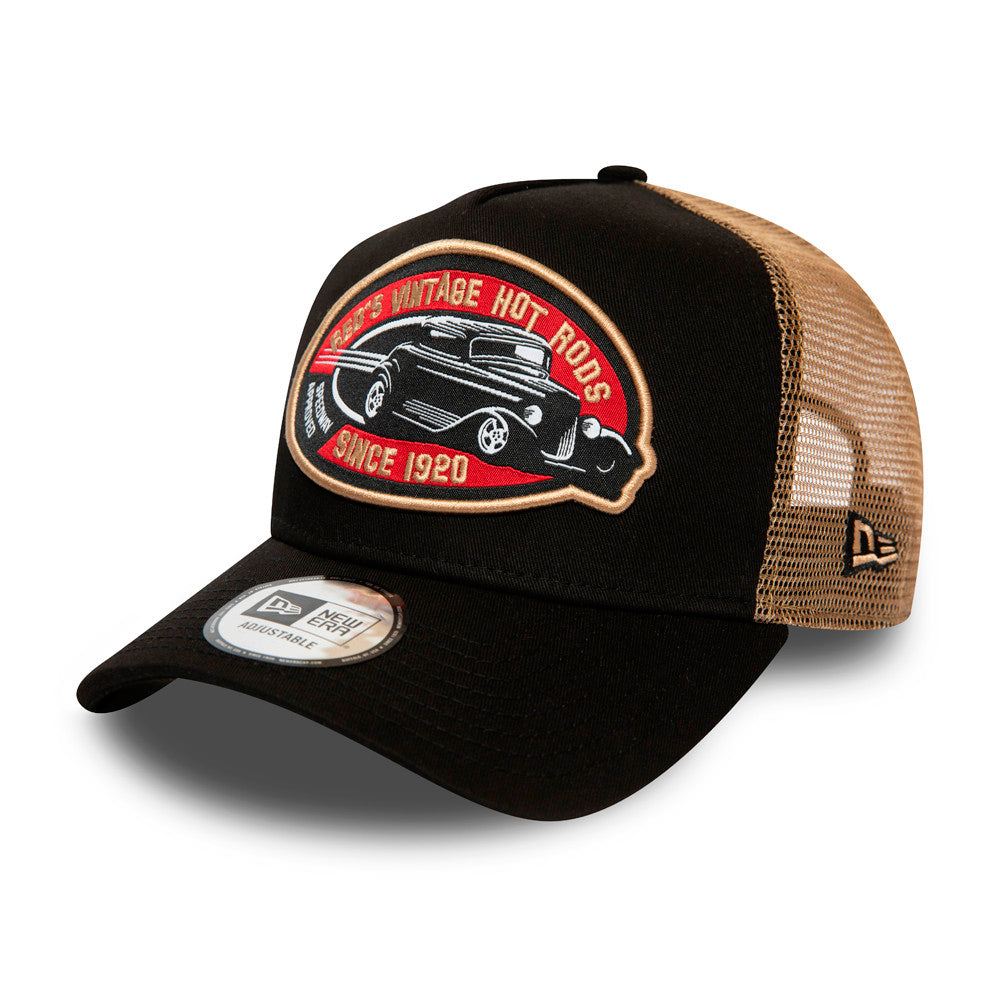 New Era Hot Rod Fabric Patch Clean a Frame Trucker Snapback Black Brown Sort Brun 12381120