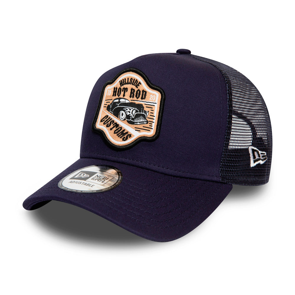 New Era Hot Rod Fabric Patch Clean a Frame Trucker Snapback Navy Black Blå Sort 12381119