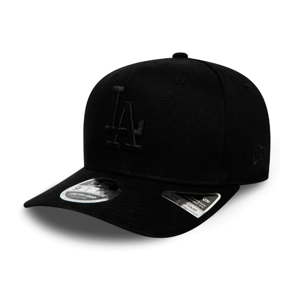New Era MLB Los Angeles LA Dodgers 9Fifty Stretch Snap Snapback Black on Black Sort Sort 12285244