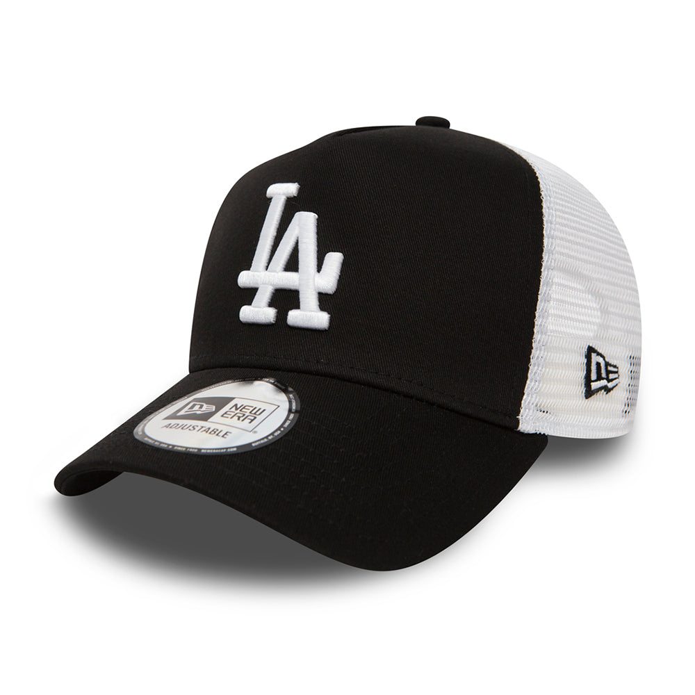New Era MLB Los Angeles  LA Dodgers Clean A Frame Trucker Snapback Black White Sort Hvid 11405498