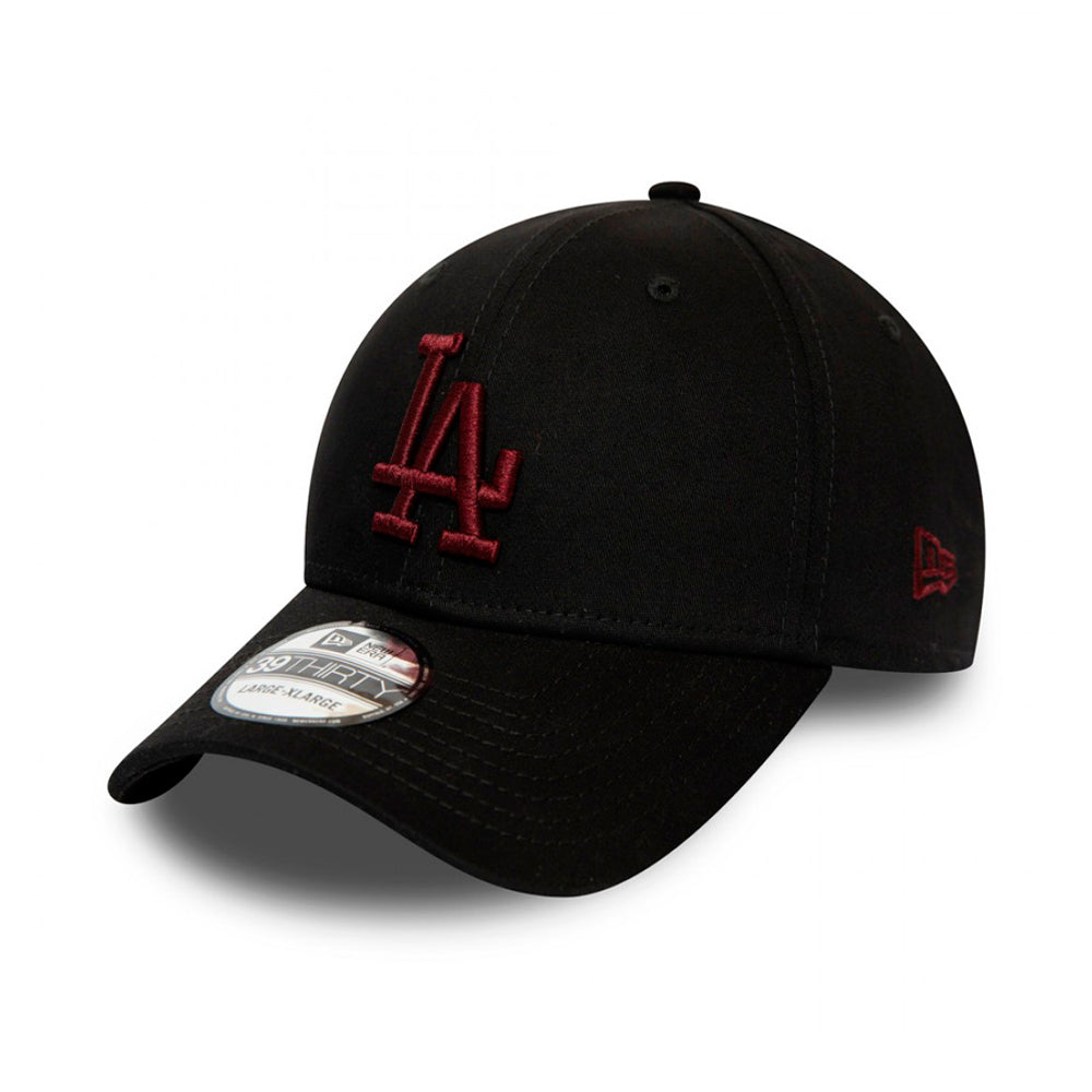 New Era LA Dodgers Essential 39Thirty Flexfit Black Maroon Sort Rød