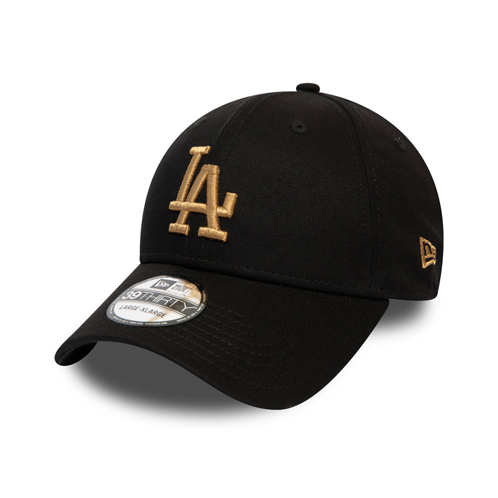 Model Navn: New Era LA Dodgers Essential 39Thirty Flexfit Black Gold Sort Guld