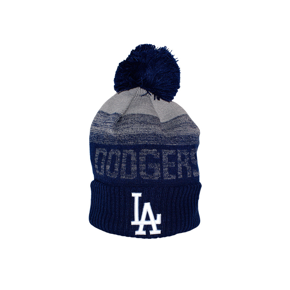 New Era LA Los Angeles Dodgers Sport Knit Pom Beanie Fold Up Pom Huer Fold Huer Navy Grey Blå Grå