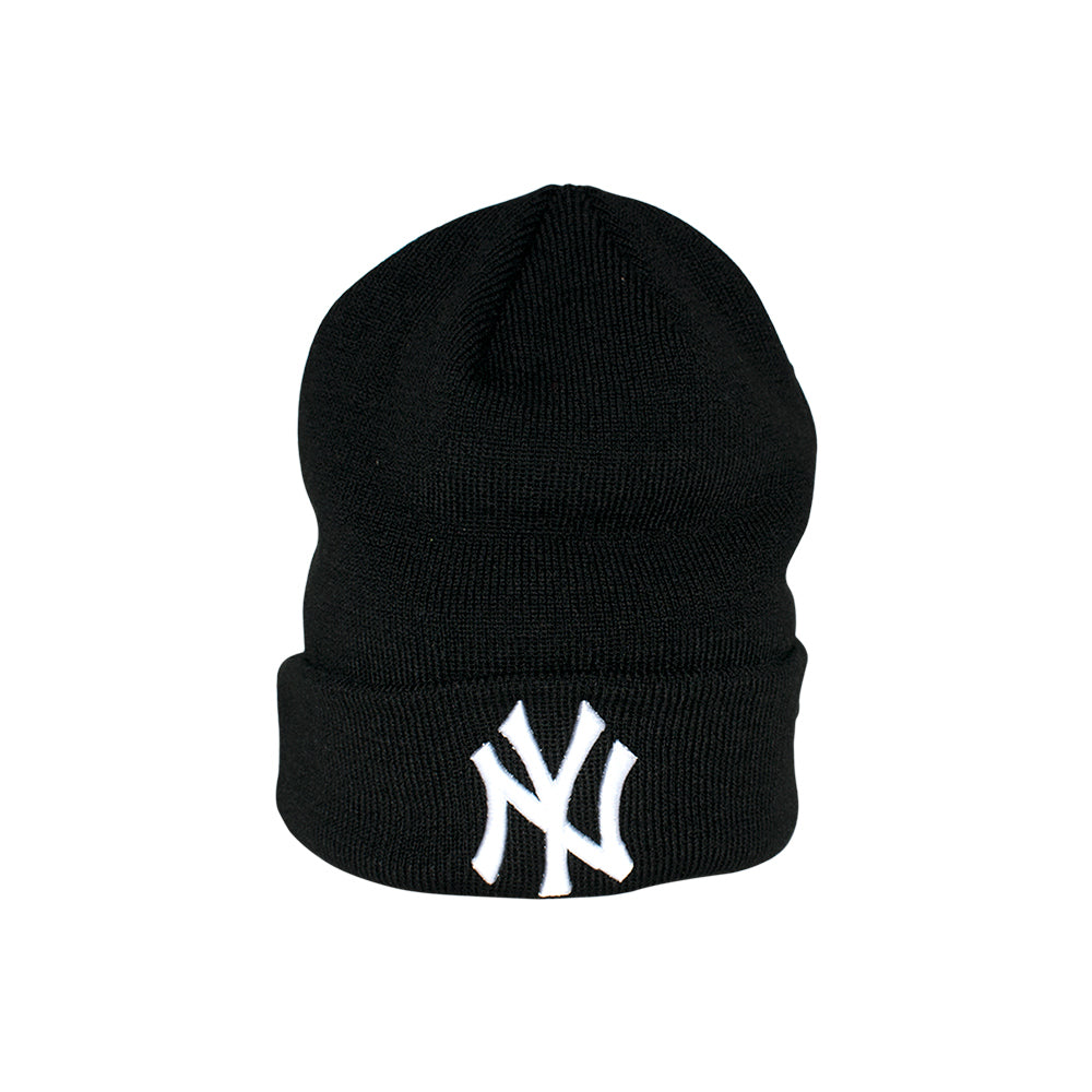 New Era NY Basic Knit Beanie Black Sort Cuff Fold Hue