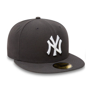 New Era NY New York Yankees 59Fifty Fitted Graphite White Black Sort Hvid