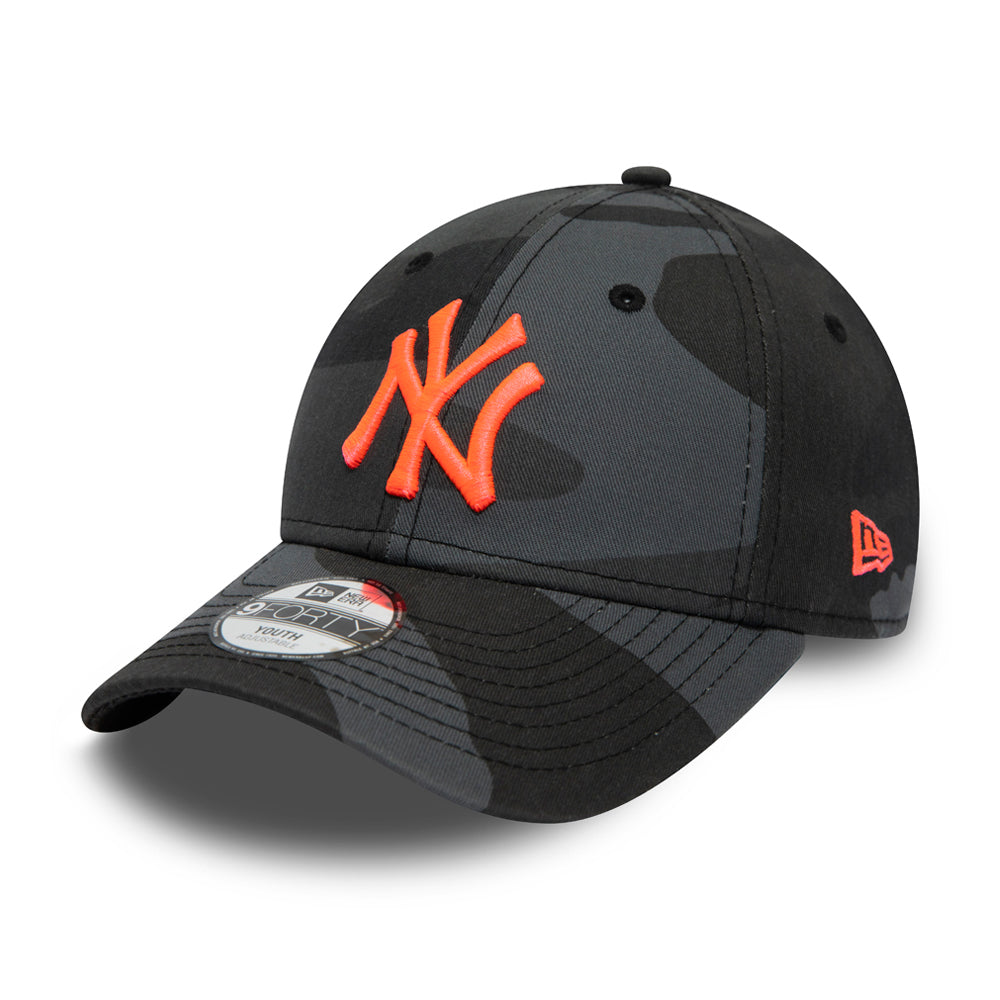 New Era MLB New York NY Yankees 9Forty Kids Adjustable Justerbar Black Camo Neon Orange Sort Camouflage Orange 12381206