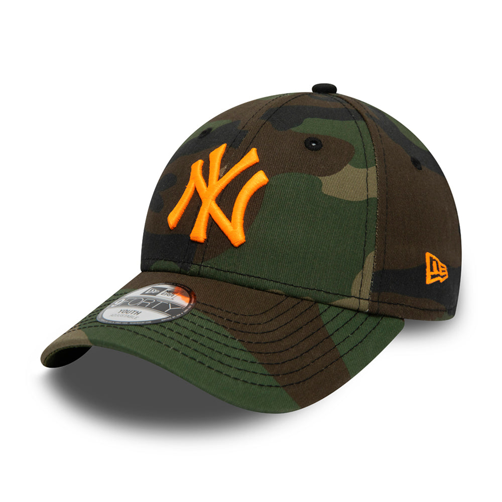 New Era MLB New York NY Yankees 9Forty Kids Adjustable Justerbar Woodland Camo Neon Orange Camouflage Orange 12381205