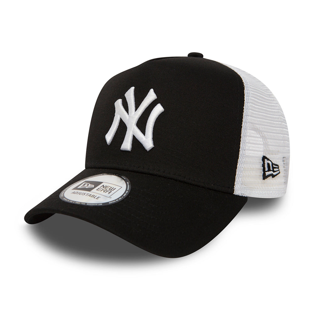 New Era NY Yankees Clean 2 Trucker Snapback Black White Sort Hvid