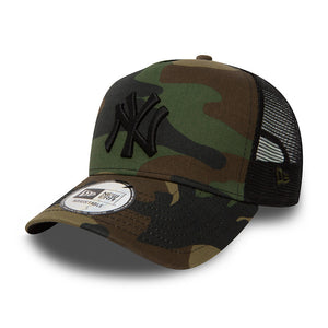 New Era NY Yankees Clean Trucker Snapback Camo Black Camo Sort