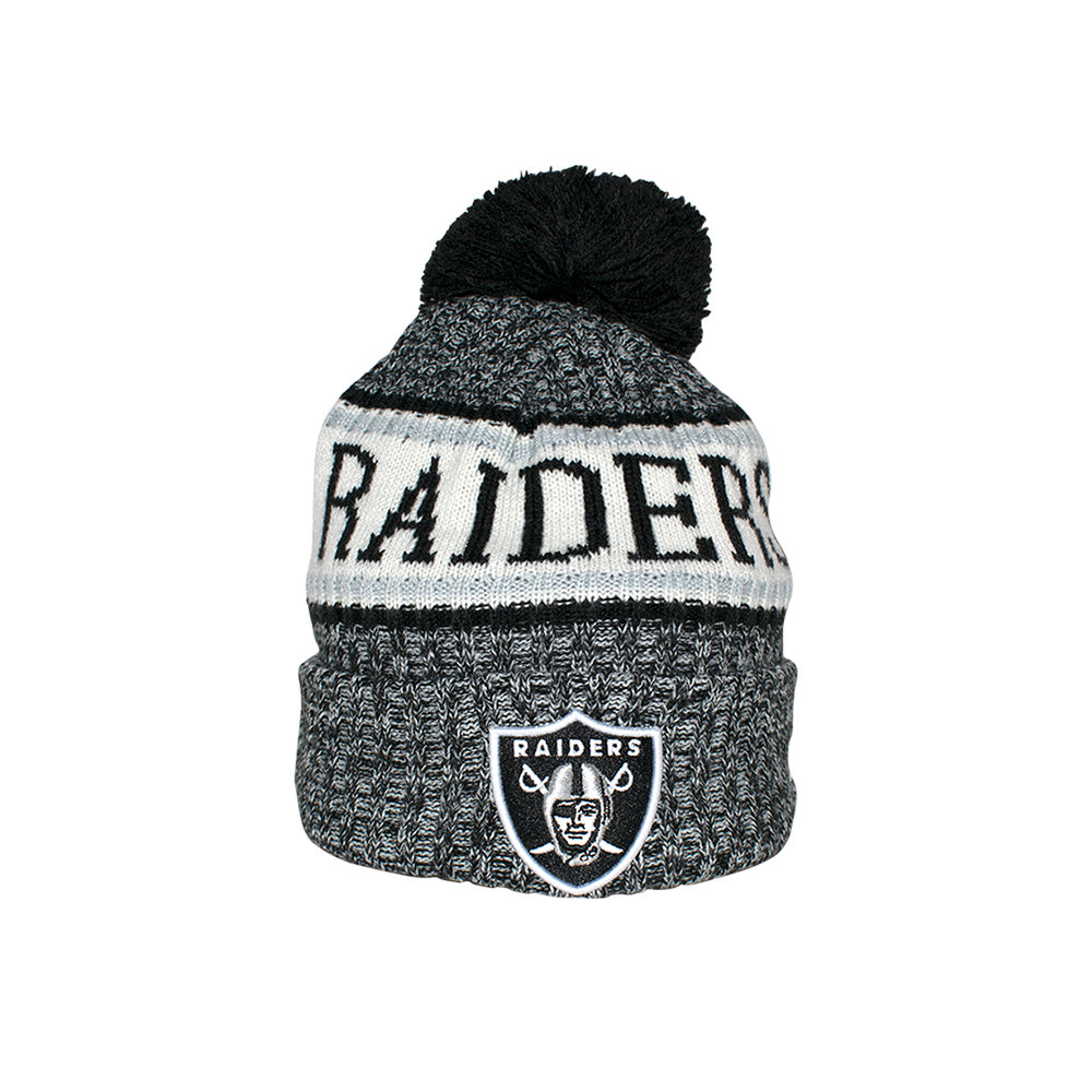 New Era Oakland Raiders Sport Knit Beanie Black Pom Sort Pom