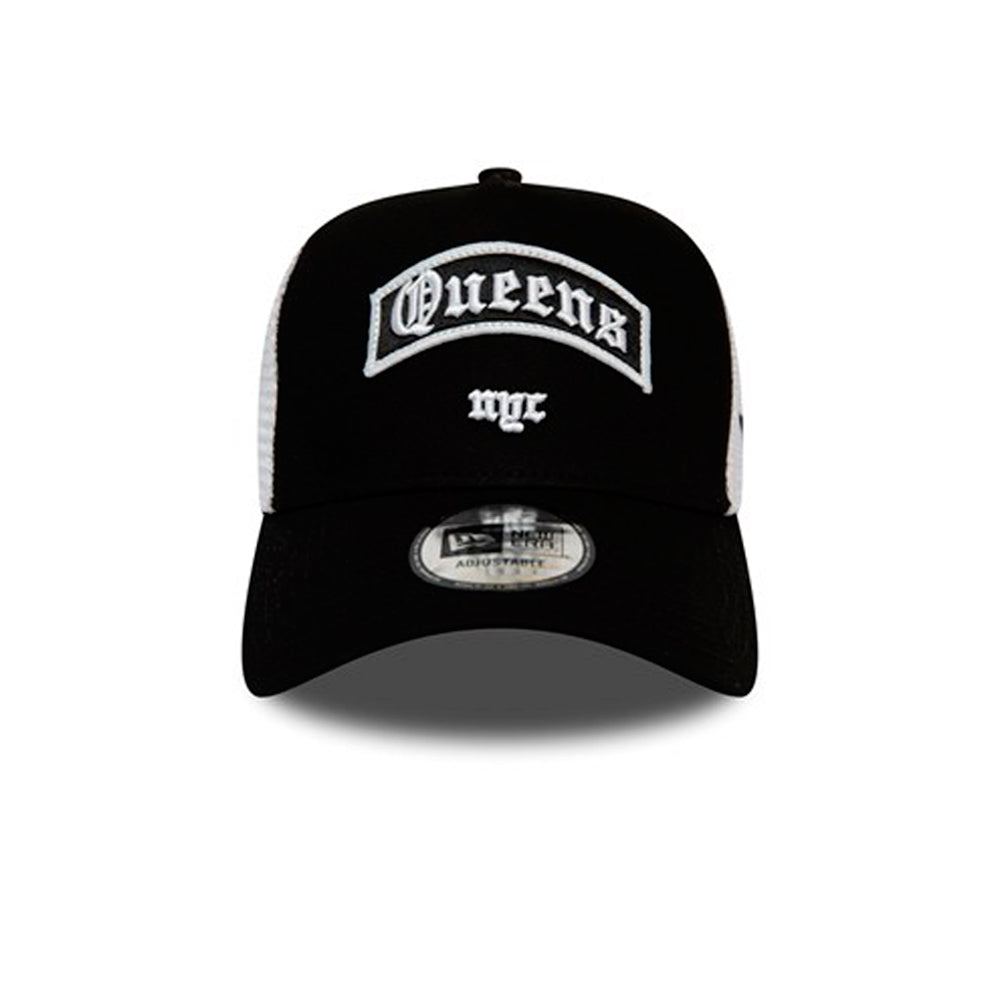 New Era Queens NYC wordmark A Frame Trucker Snapback Black White Sort Hvid