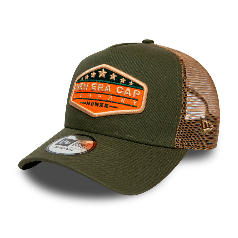 New Era USA Star Patch Clean a Frame Trucker Snapback Olive Khaki Grøn Beige 12380944