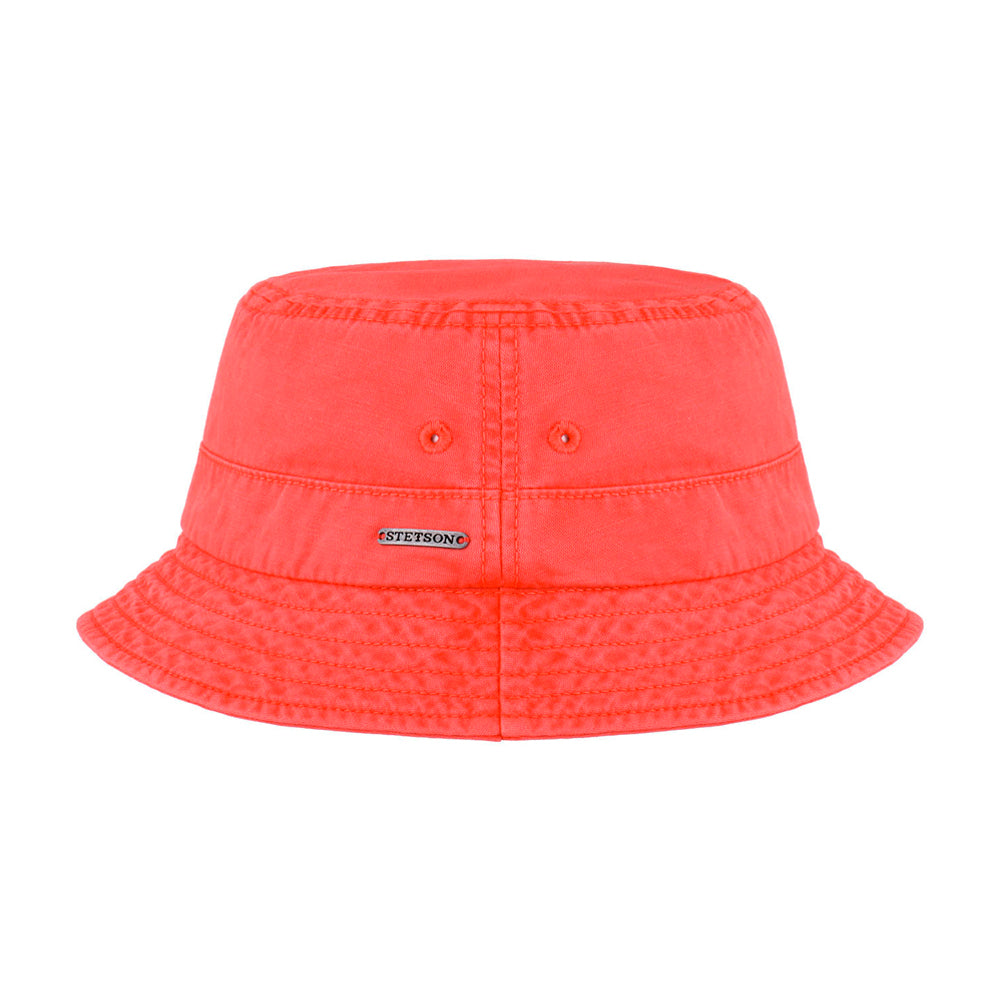 Stetson Dyed Cotton Bucket Hat Coral Red Koralrød