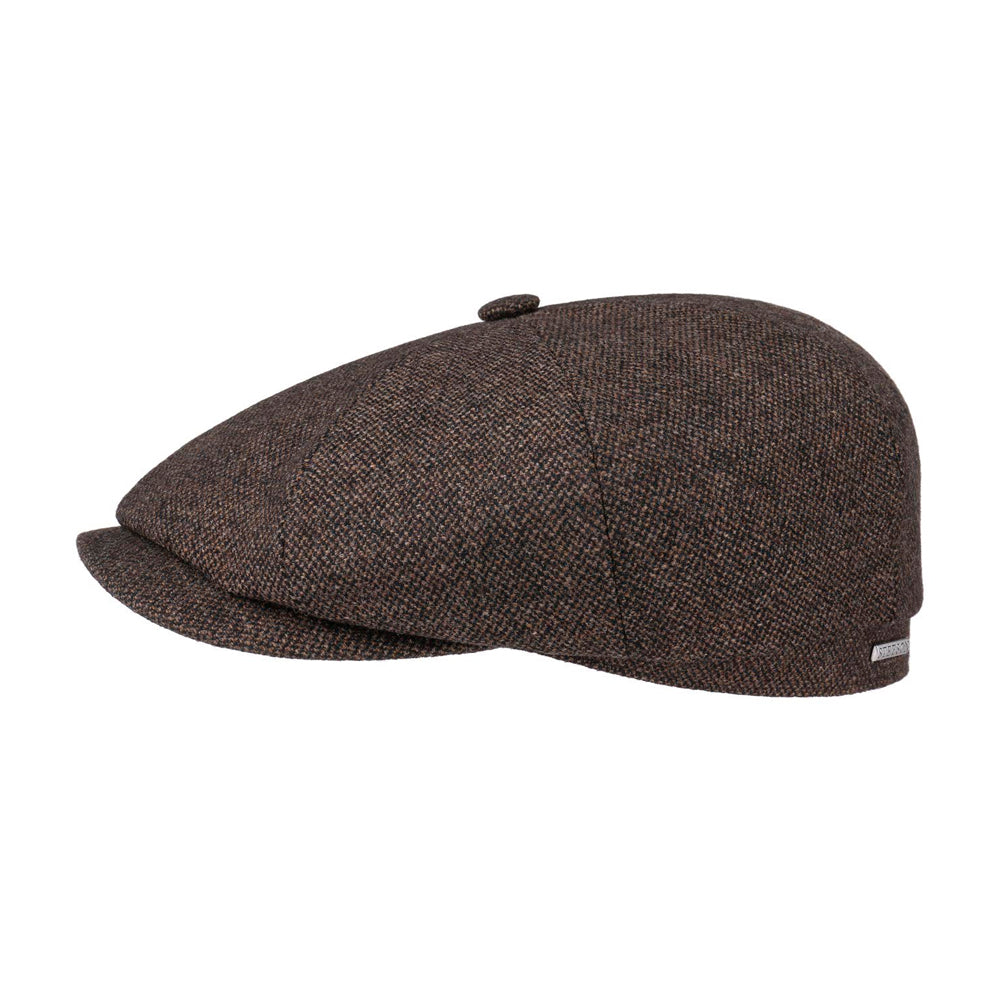 Stetson Hatteras Wool Mix Sixpence Flat Cap Brown Brun
