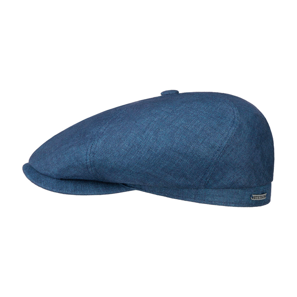 Stetson 6 Panel Just Linen Sixpence Flat Cap Navy Blå 6643104-2