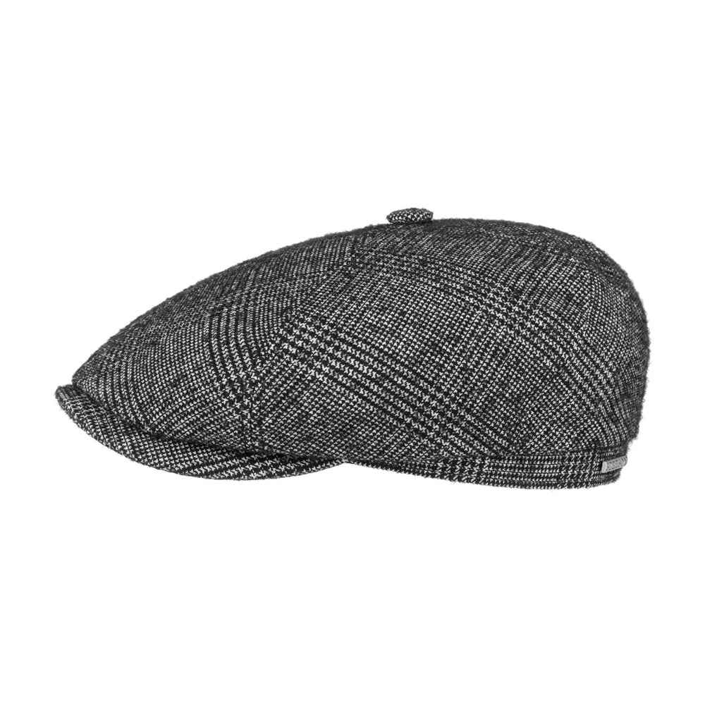 Stetson Brooklin Boucle Sixpence Flat Cap Black White Sort Hvid 6640104-210