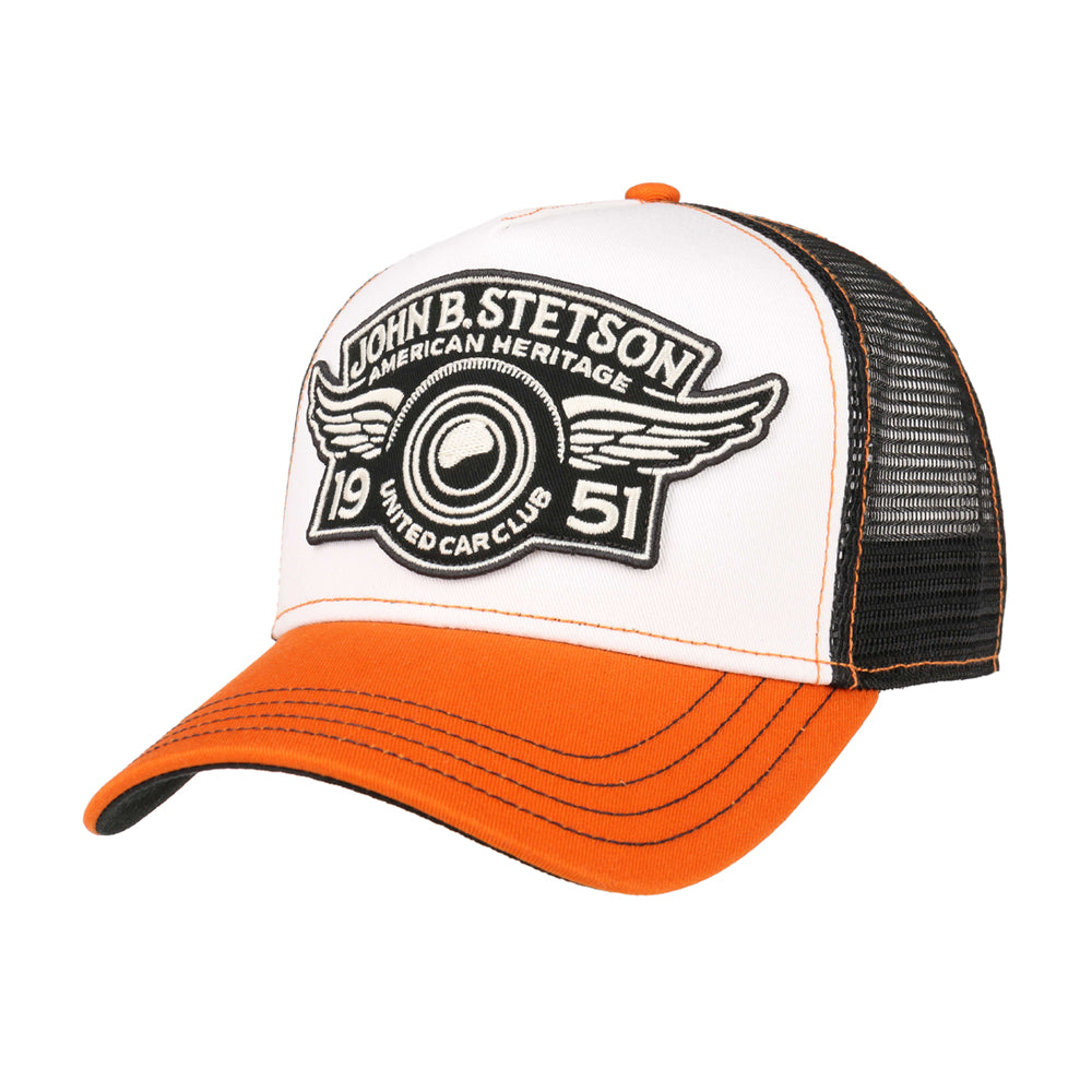 Stetson Car Club Trucker Snapback White Black Orange Hvid Sort Orange