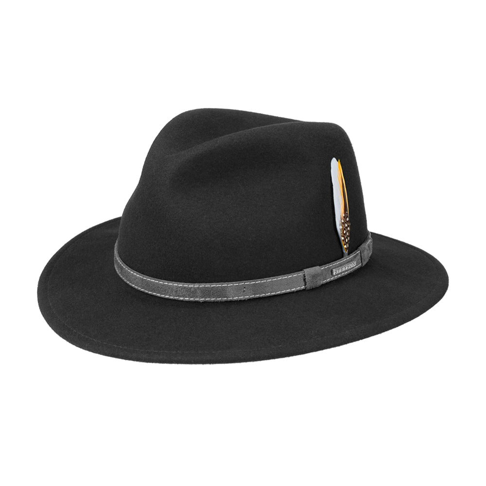 Stetson Cartbridge Traveller Hat Vitafelt Fedora Black Sort