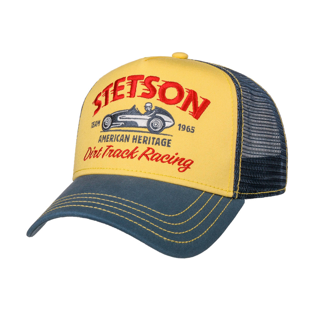 Stetson Dirt Track Racing Trucker Snapback Blue Yellow Blå Gul